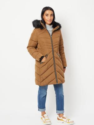 Bronze Faux Fur Hood Longline Padded Coat