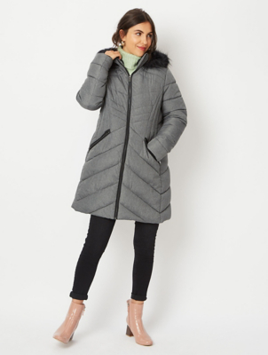 Grey Faux Fur Hood Longline Padded Jacket