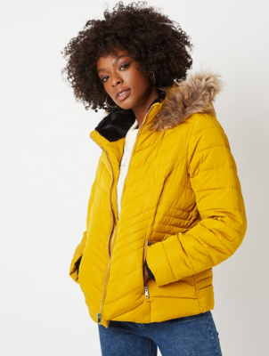 Mustard Yellow Faux Fur Trim Chevron Padded Coat