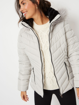 Silver Grey Faux Fur Trim Chevron Padded Coat
