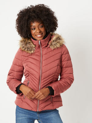 Dusty Pink Faux Fur Trim Chevron Padded Coat