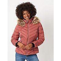 Dusty Pink Faux Fur Trim Chevron Padded Coat by Asda