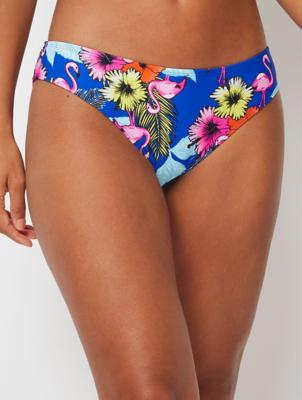 Blue Flamingo Floral High leg Bikini Bottoms
