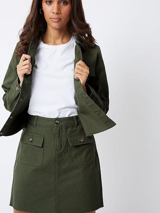 6c81240ee67c26 Khaki Denim A-Line Utility Mini Skirt | Women | George