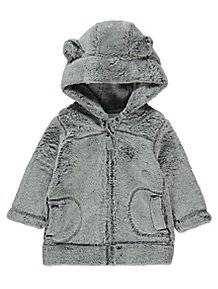 da55f53d8 £6. Faux Fur Hoodie. (3). White Cloud Print Hooded Quilted Pramsuit