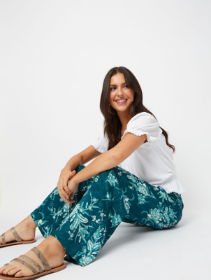 Green Floral Jacquard Palazzo Trousers