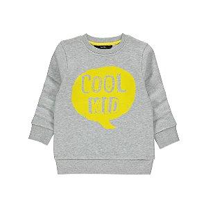 Grey Slogan Print Sweatshirt