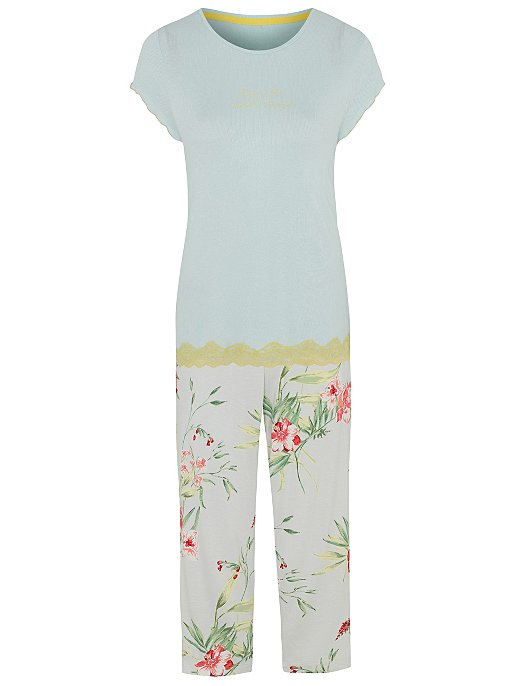 5a04ebbc7 Mint Simple Things Slogan Lace Floral Pyjamas | Women | George