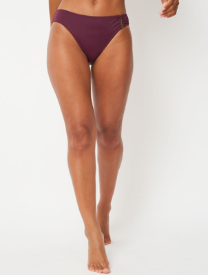 Plum Bar Detail High Leg Bikini Bottoms