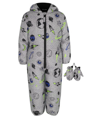 Grey Space Print Snowsuit and Mittens