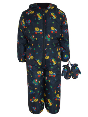 Navy Digger Print Snowsuit and Mittens