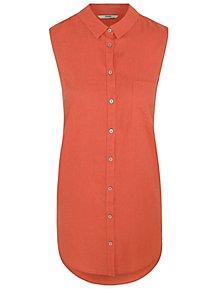 b2f30dfc79d Coral Red Linen Blend Longline Sleeveless Shirt