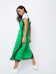 9c3c75e90fec51 Green Satin Lace Eyelash Trim Slip Dress