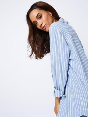 Blue Linen-Blend Stripe Shirt