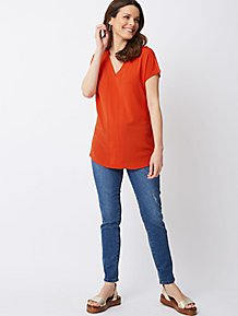 d66dd37703 Red Crepe Front Cap Sleeve Top