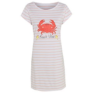 Pink Stripe Crab Print Nightdress