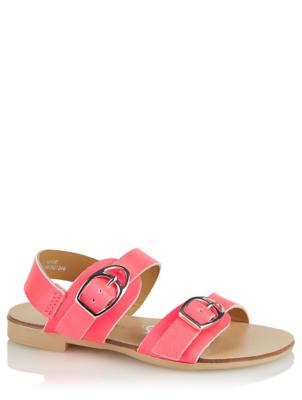 Neon Pink 2 Strap Buckle Sandals