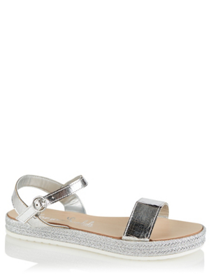 Silver Crackle Buckle Sandals