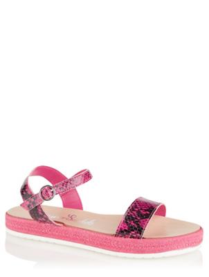 Pink Snakeskin Print 2 Strap Sandals