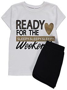 White Foil Print Weekend Slogan Pyjamas 966bc53f5
