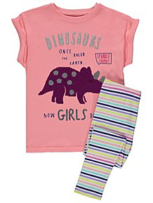 88895d65152 Pink Dinosaur Swipe Sequin Pyjamas