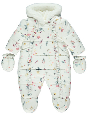White Floral Print Shower Resistant Snowsuit and Mittens