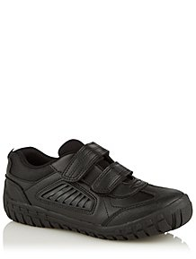 e7312ba6496b Boys Black Rugged 2 Strap School Shoes