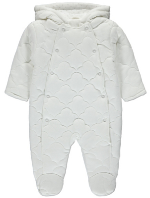 White Cloud Print Hooded Quilted Pramsuit