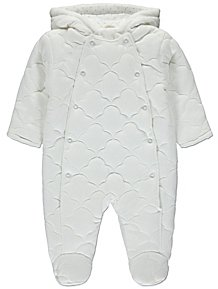292b1e7584e3d White Cloud Print Hooded Quilted Pramsuit
