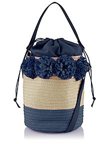 14765830670 Navy Woven Bucket Bag