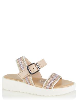 Blush Pink Glitter Strap Buckle Sandals
