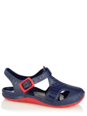 Navy and Red Jelly Aquasock Sandals