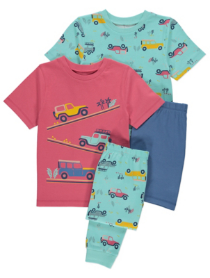 Car Print Short Sleeve Pyjamas 2 Pack