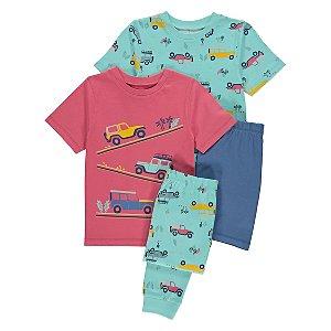 Car Print Short Sleeve Pyjamas 2 Pack