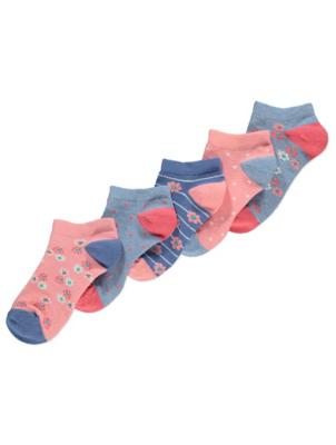 Pink and Blue Floral Trainer Socks 5 Pack