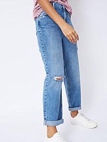 4acf3307 Blue Distressed Effect Ripped Boyfriend Denim Jeans