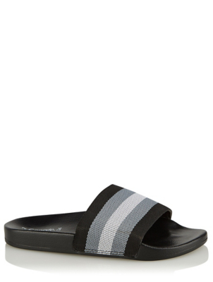 Black Stripe Pool Sliders