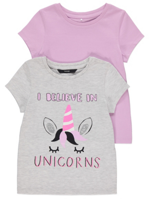 Purple and Grey Unicorn T Shirts 2 Pack