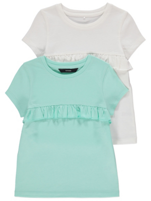 White and Green Frill T Shirts 2 Pack