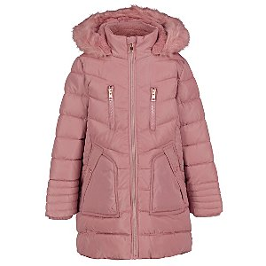 Pink Hooded Shower Resistant Longline Padded Coat
