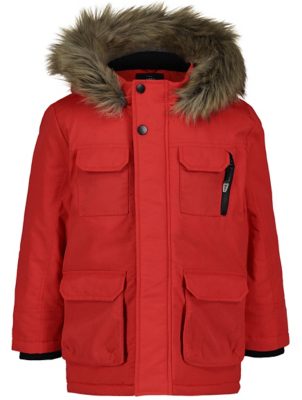 Red Faux Fur Shower Resistant Padded Parka