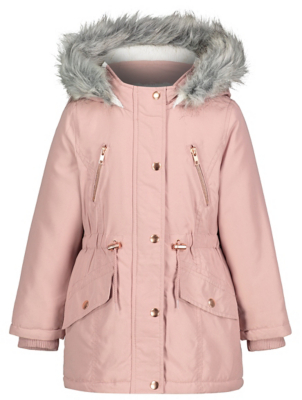 Pink Faux Fur Shower Resistant Parka