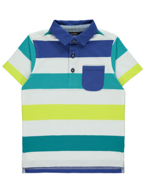White Multi Stripe Short Sleeve Polo Shirt