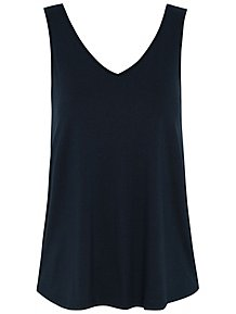 a9fca5de9f39df Navy Swing V Neck Vest Top