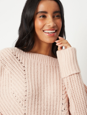Pale Pink Pointelle Boat Neck Jumper