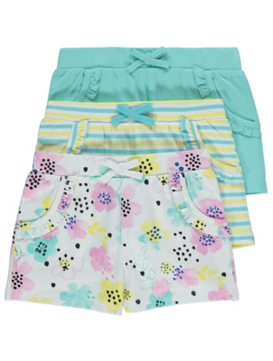 Floral Stripe Jersey Shorts 3 Pack