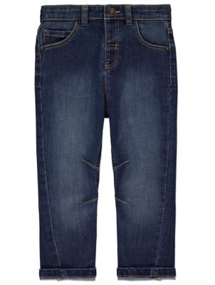 Dark Blue Wash Denim Stretch Jeans