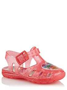 d403aff57253 First Walkers Coral Glitter Heart Jelly Sandals
