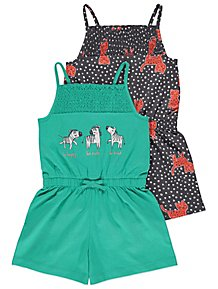75ab4265a96 Green Leopard Print Jersey Playsuits 2 Pack