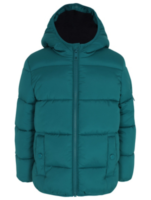 Teal Hooded Padded Reflective Coat